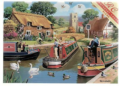 """Canal Boats """"busy Days On The Canal""""--Greetings Print Card--Kevin Walsh"""