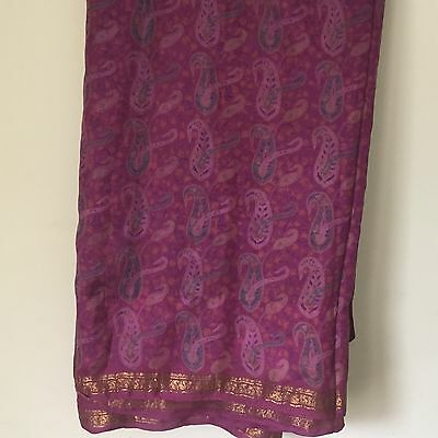 Fuchsia/PInk /Purple VINTAGE SAREE SARI for Recycling/Upcycling . Can wear. 200""