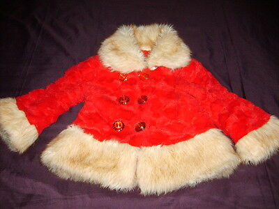 girls lovely warm winter coat red with fur cuffs and collar 1yr