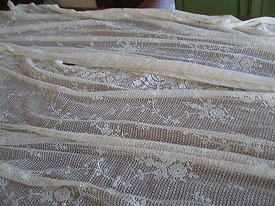 Vintage Pair Of Cream Cotton Lace Panels Overall Small Floral Pattern