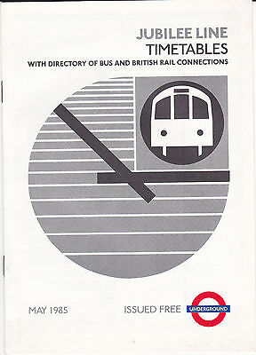 Timetable Jubilee Line London Transport Railways Daily May 1985