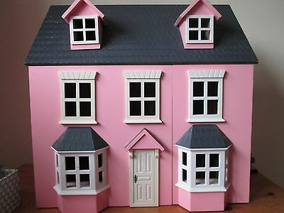 Lovely Pink Wooden Dolls House Toy with furniture