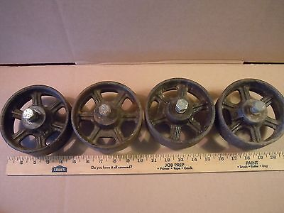 Four Antique/Vintage Cast Iron Industrial Wheels/ 5 Inches Diameter