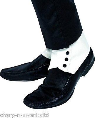 Mens Adult Gangster Bugsy Malone Great Gatsby White & Black Fancy Dress Spats