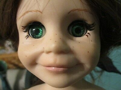Doll makers Assoc. hard plastic baby doll with freckles and green eyes