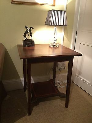 Antique edwardian inlaid mahogany occassional/hall/lamp table shaped under shelf