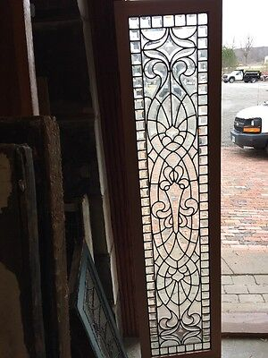 "Sg 958 Important Busy Antique All Beveled Glass Window 17"" X 69.25"""