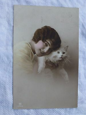 R053 Young WOMAN with White Cat - A Carlten Postcard c1914
