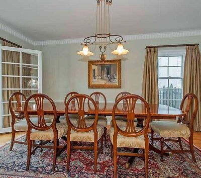 English Antique Style Mahogany Dining Table and Eight Matching Chairs