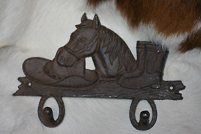 (8),WESTERN DBL.WALL HOOK,horses,country decor,home decor,COWBOY,RANCH,DEN W-7