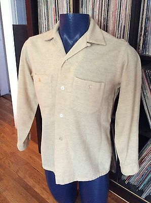 Vintage 40s 50s Wool Penney's Towncraft Loop Collar Mens Rockabilly Retro Shirt