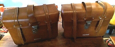 Vintage 80's Euro Design leatherette motorbike panniers with steel backing x 2