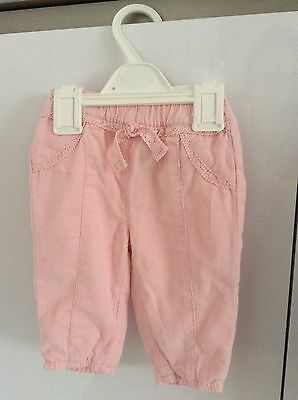 Baby Girls Pale Pink Cords With Fully Elastic Waist 3-6 Months By George