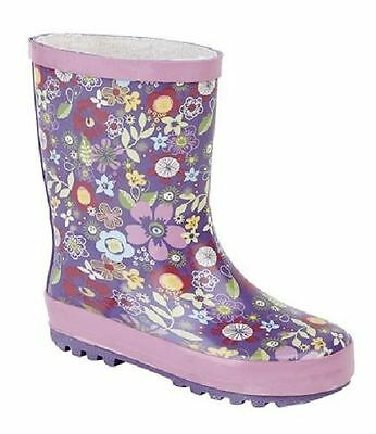 W206M Girls Kids Stormwells Pink Wellington Boots Wellies Rain Snow