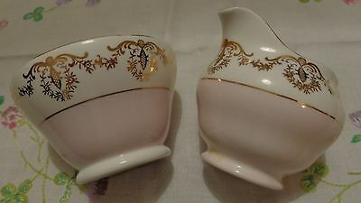 VINTAGE ROYAL VALE/SUTHERLAND PINK and GOLD CREAMER and SUGAR BOWL