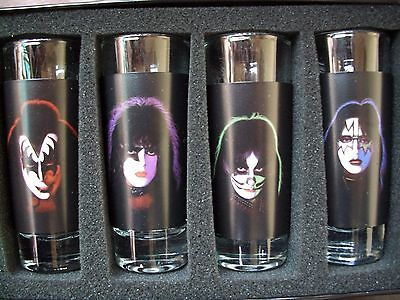 "Kiss ""Solos"" Faces 4pc Shot Glass Set- REALLY GOOD QUALITY"
