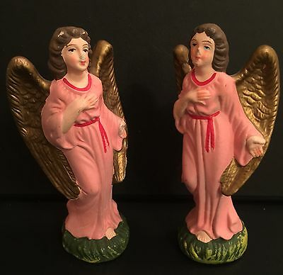 Lot 2 Vintage Japan Nativity Angel Standing Composite Pair Pink  Woolworth's