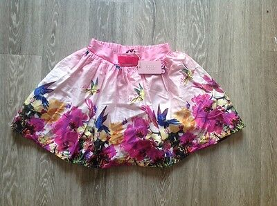 BAKER By Ted Baker pink full floral birds skirt Pink bow Age 11 BNWT