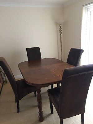 Solid Wood Table And 4 Faux Leather/Suede Chairs