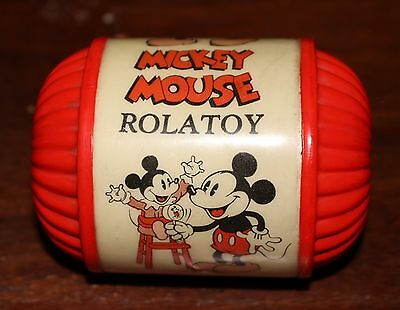 1930's MICKEY MOUSE ROLATOY CELLULOID BABY ROLLING RATTLE DISNEY - RARE  TOY