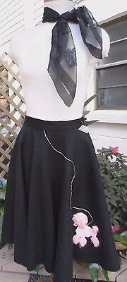 "Adorable 50s Style Black Felt Full Circle Skirt w/Fluffy Poodle & Scarf  27""wst"