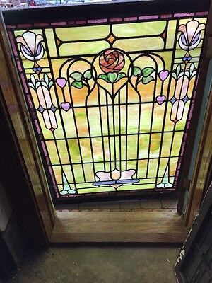 Sg 961 Antique Stainglass Landing Window Rose In Floral Pattern
