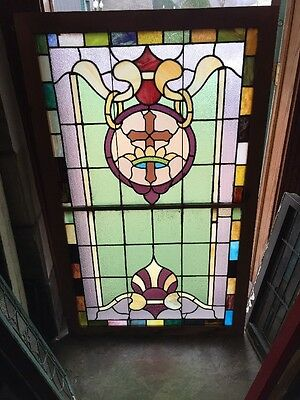 Sg 962 Antique Stainglass Landing Window Crown And Cross