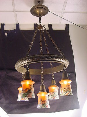 C.1900 5 Shade All Brass Chandelier~Ring Type Shower~Czech Castle Painted Shades