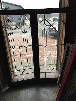 Sg 964 Matched Pair Antique Leaded Glass Cabinet Doors Birch