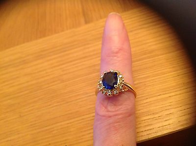 A  Stunning Ladies'Ring with a  blue 'Stone' Size O,.beach find