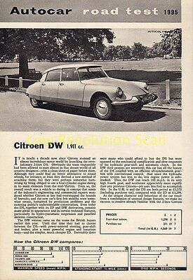 CITROEN DW 1911cc, ROAD TEST REPORT, 1964 MAGAZINE ARTICLE