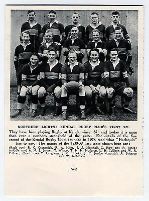Kendal Rugby Club First Xv Northern Lights 1939 Original Vintage Magazine Print