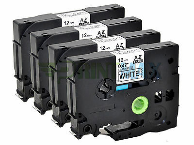 4 PK 12mm TZ TZe 231 Compatible for Brother Label Tape Black on White PT-320