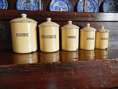 Superb set 5 vintage French/Belgian yellow enamelware,kitchen storage Canisters