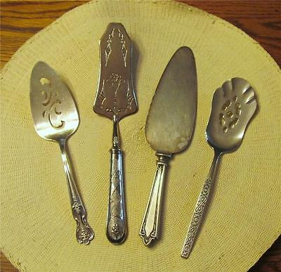 Mixed Lot Four (4) Vintage Silverplate Serving Pieces Flatware for Pies Desserts