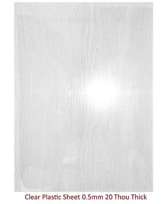 Plasticard - 0.5mm (20 Thou) Clear Plastic Sheet (Approx. A4 Size)