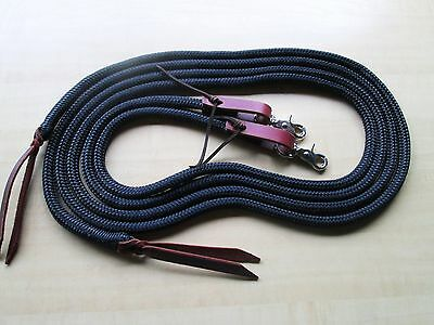 "Rose Lodge 8' x 1/2"" BLACK Trail Training Yacht Rope SPLIT Reins Leathers, Snaps"