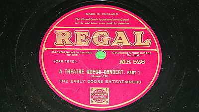 "EARLY DOORS ENTERTAINERS : A theatre queue concert - 1932 10"" 78rpm Regal MR526"
