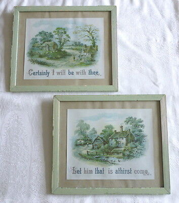 Pair Of Antique Rural Scene Prints With Religious Texts, In Green Painted Frames