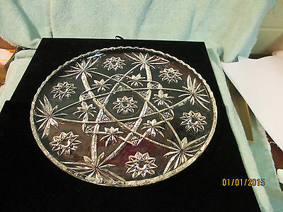 """Antique Vintage Early American Prescut 11"""" Cake Plate Anchor Hocking"""
