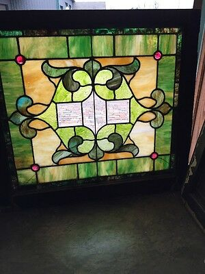 Sg 968 Antique Stainglass Landing Window Secret Bevel Center