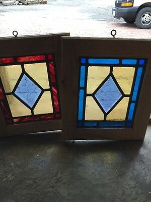 Sg 969 Matched Pair Antique Stainglass Windows Religious Cross Center