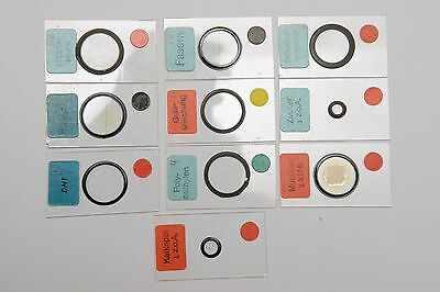 Set of 10 microscope slides for Leitz Polarisation Materials Microscopes, RARE!