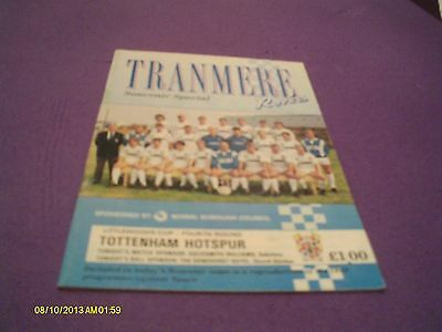 Tranmere Rovers V Tottenham Hotspur League Cup Programme 1989