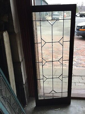 Sg 972 matched pair Antique Beveled And Leaded Glass Window Or Cabinet Door