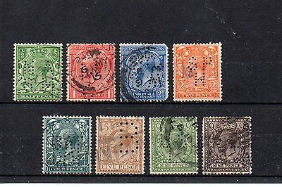 set of 8 used GV GB stamps with perfins