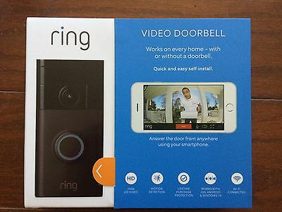 Ring Wi-Fi Enabled Smart Phone Video Doorbell - Venetian Bronze NEW FREE SHIP!