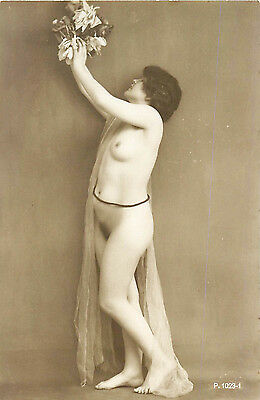 FRENCH REAL PHOTO NUDE, RPPC, FRANCE, VINTAGE POSTCARD, Series #1023-1