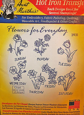 Aunt's Martha's Hot Iron Transfer # 3931 Flowers for Everyday