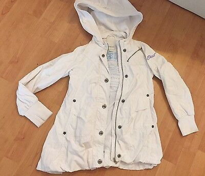 Girls White Hooded Diesel Coat Age 5-6 Years (Label Age 8) REDUCED
